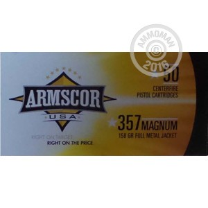 Picture of 357 MAGNUM ARMSCOR USA 158 GRAIN FMJ (1000 ROUNDS)