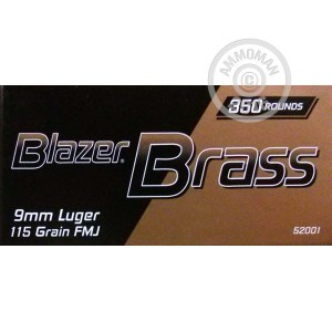 Picture of 9MM BLAZER BRASS 115 GRAIN FMJ (1050 ROUNDS)