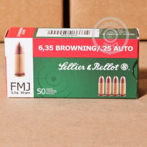 Photo of .25 ACP FMJ ammo by Sellier & Bellot for sale at AmmoMan.com.