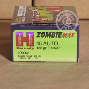 Picture of 45 ACP HORNADY Z-MAX ZOMBIE 185 GRAIN JHP (20 ROUNDS)