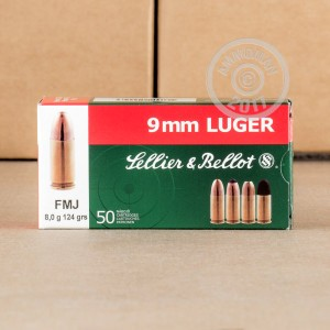Picture of 9MM LUGER SELLIER & BELLOT 124 GRAIN FMJ (50 ROUNDS)