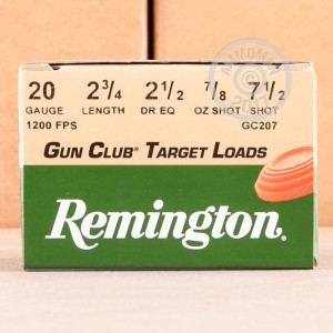 "Picture of 20 GAUGE REMINGTON GUN CLUB TARGET LOAD 2-3/4"" 7/8 OUNCE #7.5 SHOT (25 ROUNDS)"