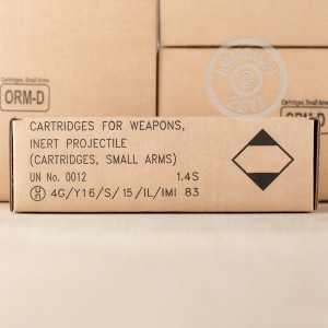 A photo of a box of Israeli Military Industries ammo in 5.56x45mm that's often used for training at the range.