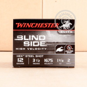 "Picture of 12 GAUGE WINCHESTER BLIND SIDE 3-1/2"" 1-3/8 OZ. #2 HEX STEEL SHOT (25 ROUNDS)"