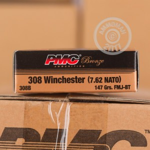 A photograph of 500 rounds of 147 grain 308 / 7.62x51 ammo with a FMJ bullet for sale.