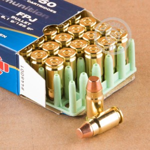 A photograph detailing the 357 SIG ammo with FMJ bullets made by Prvi Partizan.