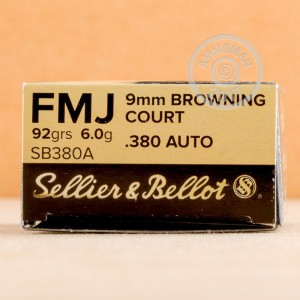 Picture of .380 ACP SELLIER & BELLOT 92 GRAIN FULL METAL JACKET (1000 ROUNDS)