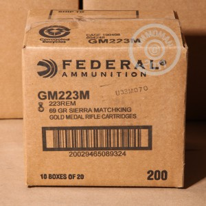 Picture of 223 REMINGTON FEDERAL PREMIUM SIERRA MATCHKING GOLD METAL 69 GRAIN BTHP (20 ROUNDS)