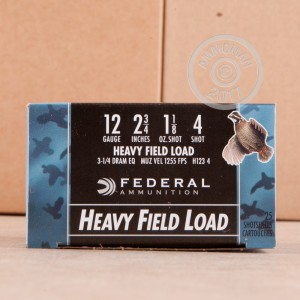 "Picture of 12 GAUGE FEDERAL HEAVY FIELD LOAD 2 3/4"" 1 1/8 OZ. #4 SHOT (25 ROUNDS)"