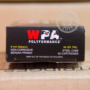 An image of 9x18 Makarov ammo made by Wolf at AmmoMan.com.