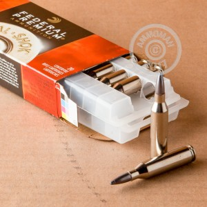 A photograph detailing the 243 Winchester ammo with Nosler Partition bullets made by Federal.