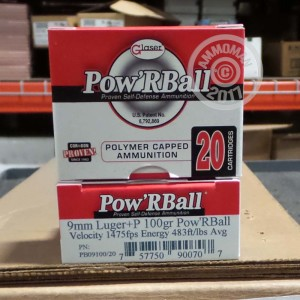 Picture of 9MM LUGER +P CORBON GLASER 100 GRAIN POW'RBALL (20 ROUNDS)