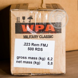 Picture of 223 REMINGTON WOLF WPA MILITARY CLASSIC 62 GRAIN FMJ (20 ROUNDS)