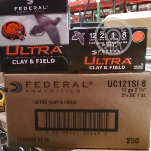 Great ammo for shooting clays, target shooting, upland bird hunting, these Federal rounds are for sale now at AmmoMan.com.