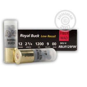 "Picture of 12 GAUGE RIO FIBER WAD LOW RECOIL 2-3/4"" #00 BUCK 9 PELLETS (5 ROUNDS)"