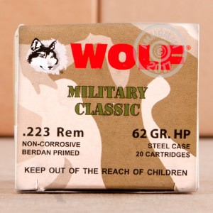 Picture of 223 REMINGTON WOLF MILITARY CLASSIC 62 GRAIN HP (20 ROUNDS)