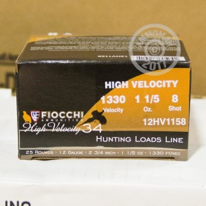 "Picture of 12 GAUGE FIOCCHI HIGH VELOCITY HUNTING 2-3/4"" GRAIN #8 SHOT (25 ROUNDS)"