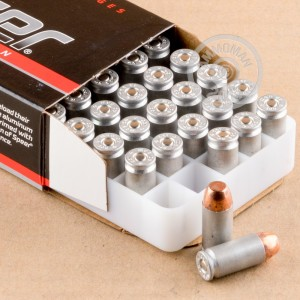 A photograph detailing the .40 Smith & Wesson ammo with FMJ bullets made by Blazer.