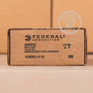Picture of 9MM LUGER FEDERAL AMERICAN EAGLE (TRAYLESS) 115 GRAIN FMJ (500 ROUNDS)