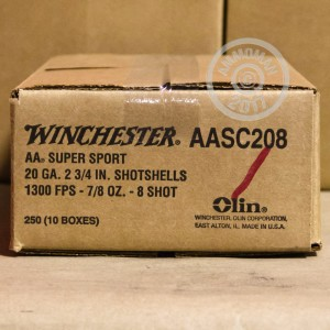 "Picture of 20 GAUGE WINCHESTER AA SPORTING CLAYS 2-3/4"" 7/8 OUNCE #8 SHOT (25 ROUNDS)"