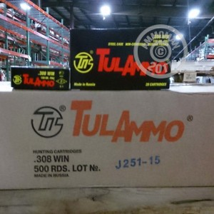 Picture of 308 WIN TULA 150 GRAIN FMJ (500 ROUNDS)