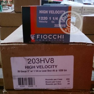 """Picture of 20 GAUGE FIOCCHI HIGH VELOCITY 3"""" #7.5 SHOT (25 ROUNDS)"""