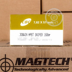 Picture of 308 CBC MAGTECH MATCH 168 GRAIN HPBT (50 ROUNDS)