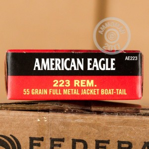 Picture of 223 REMINGTON FEDERAL AMERICAN EAGLE 55 GRAIN FMJBT (500 ROUNDS)