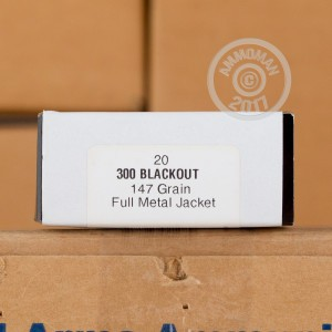 A photograph detailing the 300 AAC Blackout ammo with FMJ bullets made by Armscor.