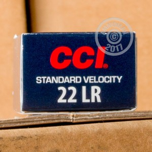 Photograph of .22 Long Rifle ammo with Lead Round Nose (LRN) ideal for precision shooting, shooting indoors, training at the range.