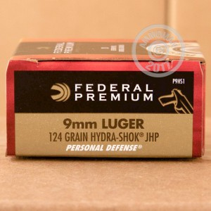 Picture of 9MM LUGER FEDERAL PREMIUM 124 GRAIN HYDRA-SHOK JHP (500 ROUNDS)