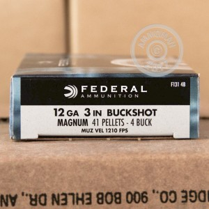 "Picture of 12 GAUGE FEDERAL POWER-SHOK 3"" #4 BUCK (5 ROUNDS)"