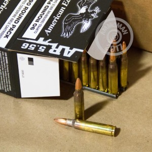 A photograph of 90 rounds of 55 grain 5.56x45mm ammo with a FMJ-BT bullet for sale.