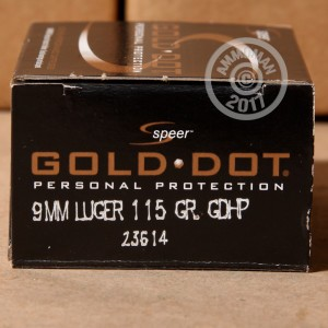Picture of 9MM LUGER SPEER GOLD DOT 115 GRAIN JACKETED HOLLOW POINT (20 ROUNDS)