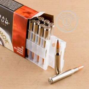 Image of 270 Winchester ammo by Federal that's ideal for big game hunting, hunting wild pigs, whitetail hunting.
