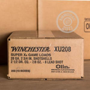 """Picture of 20 GAUGE WINCHESTER SUPER-X 2-3/4"""" 7/8 OZ. #8 SHOT (250 ROUNDS)"""