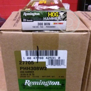 Picture of .308 WINCHESTER REMINGTON HOG HAMMER 168 GRAIN TSX (20 ROUNDS)