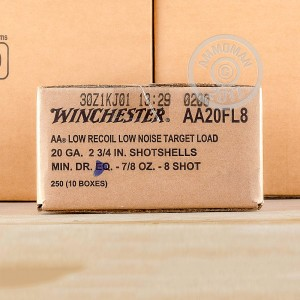 "Picture of 20 GAUGE 2 3/4"" WINCHESTER AA LOW RECOIL TARGET #8 SHOT 25 ROUNDS"