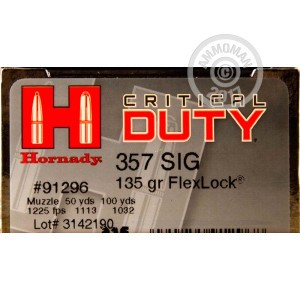 Picture of .357 SIG HORNADY CRITICAL DUTY 135 GRAIN JHP (20 ROUNDS)