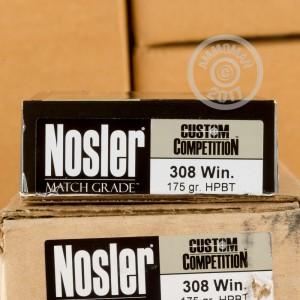 Picture of 308 WIN NOSLER CUSTOM COMPETITION 175 GRAIN HPBT (20 ROUNDS)