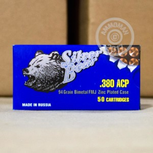 Picture of .380 ACP SILVER BEAR 94 GRAIN FMJ (1000 ROUNDS)
