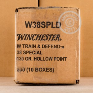 Picture of .38 SPECIAL WINCHESTER TRAIN & DEFEND 130 GRAIN JHP (20 ROUNDS)