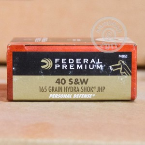 Picture of 40 S&W FEDERAL PREMIUM HYDRA-SHOK 165 GRAIN JHP (20 ROUNDS)