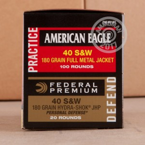 Picture of .40 S&W FEDERAL AMERICAN EAGLE COMBO 180 GRAIN FMJ/JHP (120 ROUNDS)