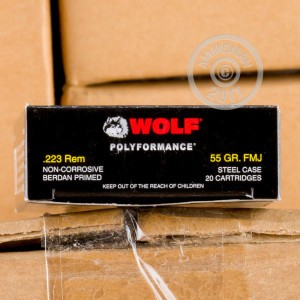 Picture of 223 REMINGTON WOLF WPA 55 GRAIN FMJ (500 ROUNDS)