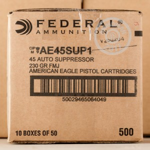 Picture of 45 ACP FEDERAL AMERICAN EAGLE SUPPRESSOR 230 GRAIN FMJ (50 ROUNDS)