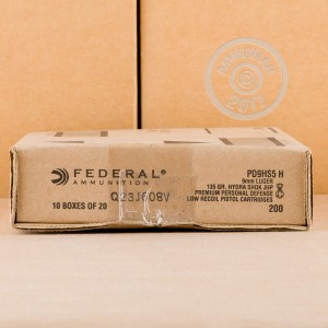 Picture of 9MM LUGER FEDERAL PREMIUM 135 GRAIN HYDRA-SHOK JHP (20 ROUNDS)