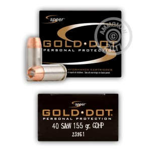 Image of Speer .40 Smith & Wesson pistol ammunition.