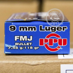 Picture of 9MM LUGER PRVI PARTIZAN 115 GRAIN FMJ (50 ROUNDS)