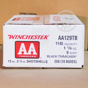 """Picture of 12 GAUGE WINCHESTER AA BLACK TRAACKER LIGHT TARGET LOAD 2 3/4"""" 1 1/8 OZ. #9 SHOT (25 ROUNDS)"""